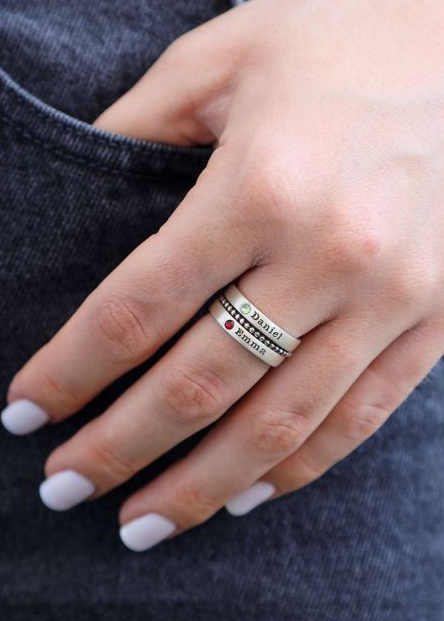Name And Birthstone Rings Stack [Sterling Silver]
