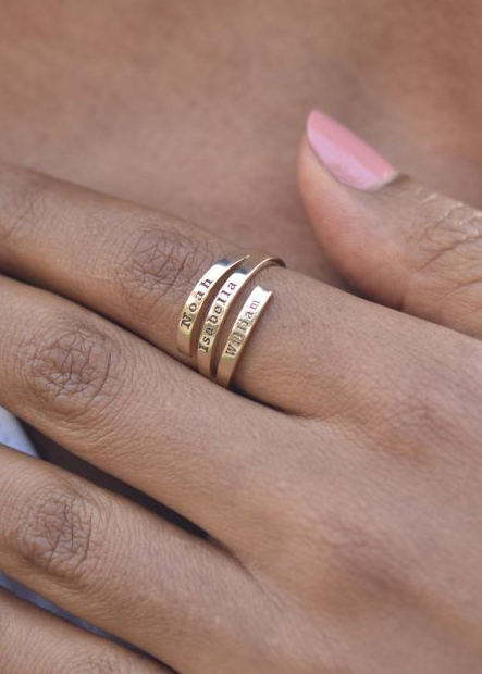 Swan Name Ring - 3 Names [Gold Plated]