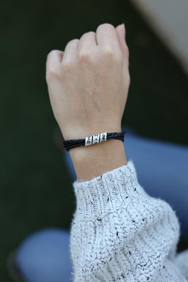 Family Name Bracelet for Women - Sterling Silver [Black Leather]